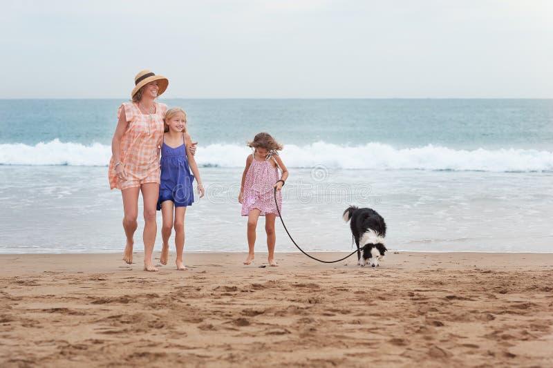 2 flickor som går på stranden med mamman och hunden lyckligt gå för familj arkivbild