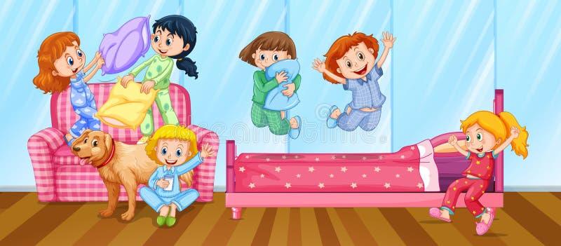 Flickor som har slummerpartiet i sovrum stock illustrationer