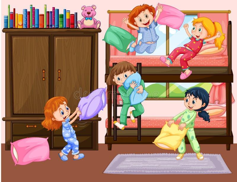 Flickor som har slummerpartiet i sovrum royaltyfri illustrationer