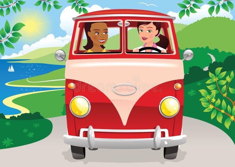 Flickor som kör en campa skåpbil stock illustrationer