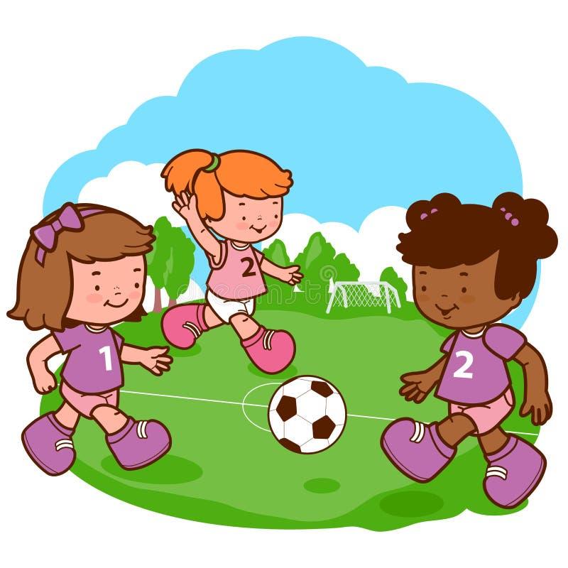 flickor som leker fotboll royaltyfri illustrationer