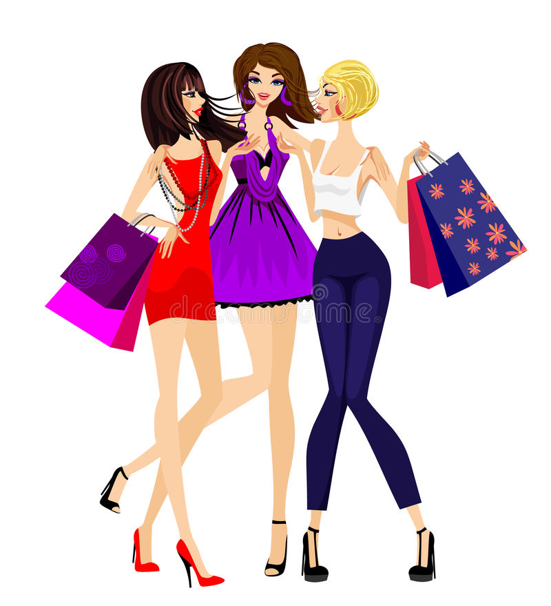 flickor som shoppar tre vektor illustrationer