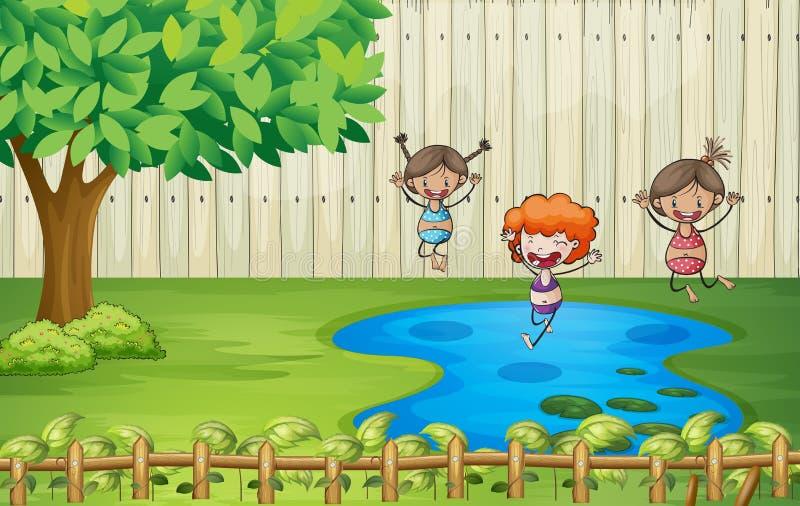 Flickor som simmar i ett damm royaltyfri illustrationer