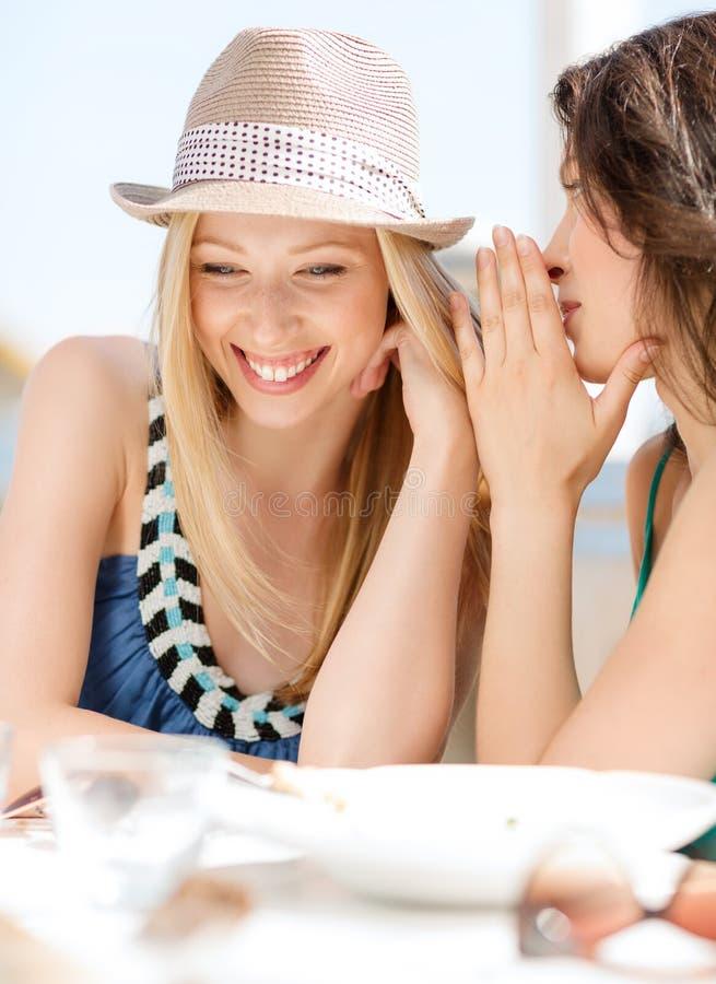 Flickor som skvallrar i kafé på stranden royaltyfri foto