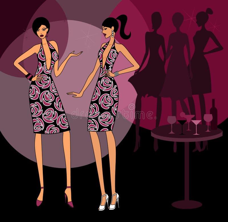Flickor som slitage samma klänning royaltyfri illustrationer