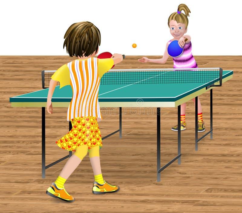 2 flickor som spelar bordtennis royaltyfri illustrationer