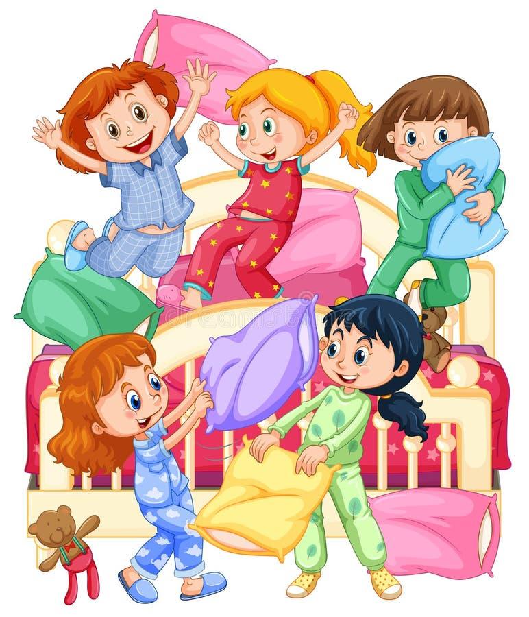 Flickor som spelar kuddekamp på slummerpartiet stock illustrationer