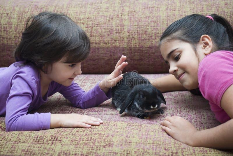 Flickor som spelar med kanin arkivbilder