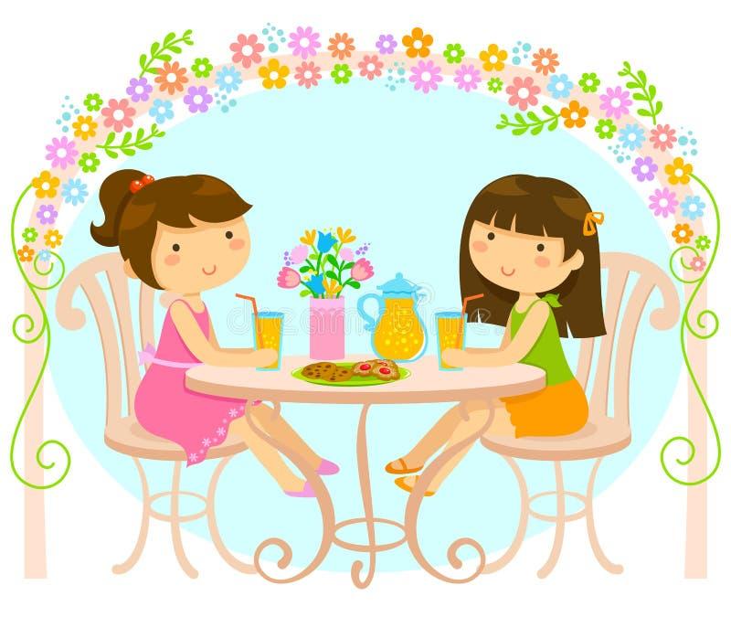 Flickor som utanför dricker fruktsaft vektor illustrationer
