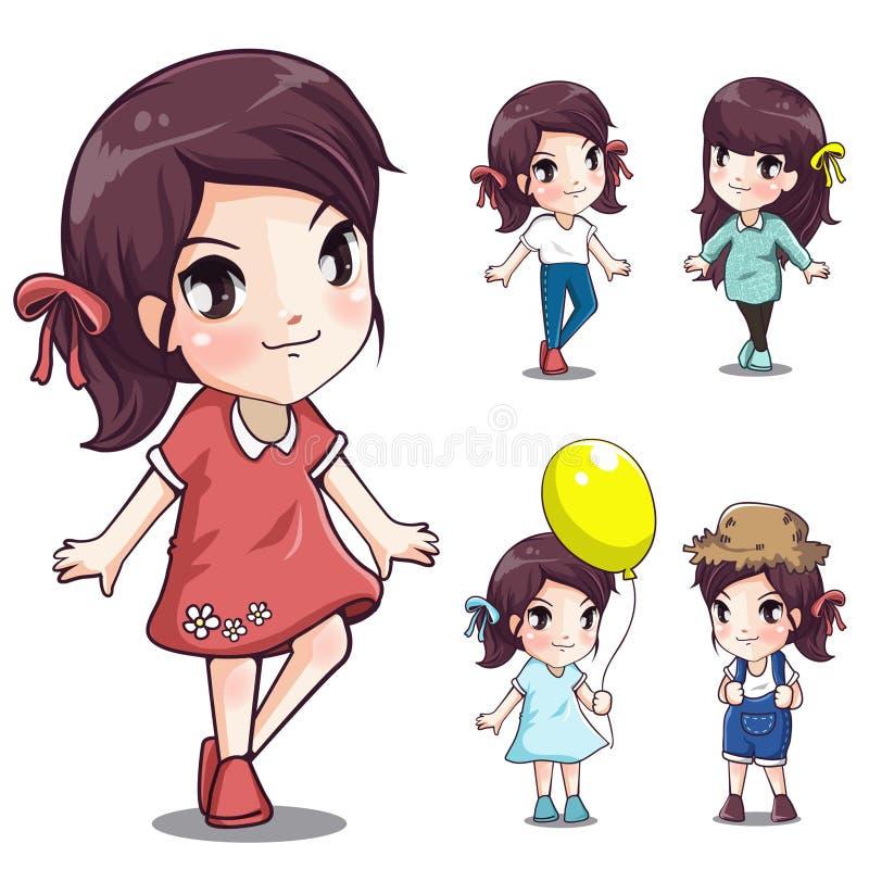 Flickor st?ller in leende och kopplar av stock illustrationer