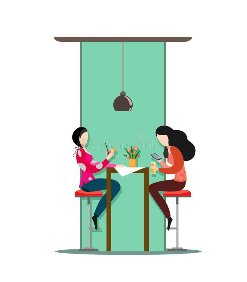 Flickornas tecken sitter på stångstolar, drinkdrinkar och pratstund white för vektor för bakgrundsillustrationhaj royaltyfri illustrationer