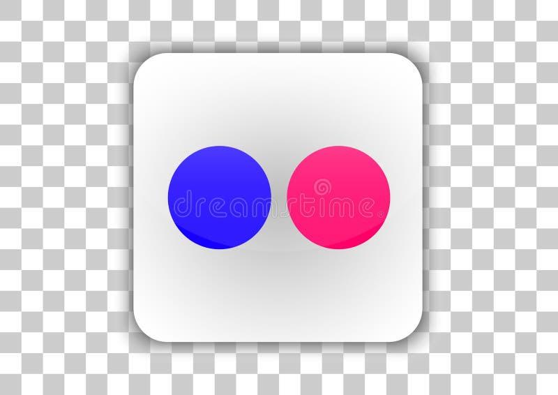 Flickr ikony ogólnospołeczny medialny guzik z symbolem Inside ilustracja wektor