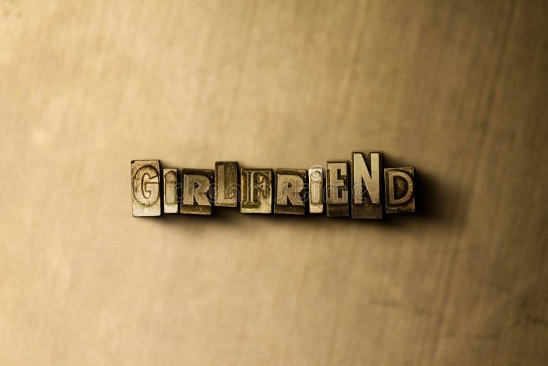 FLICKVÄN - närbild av det typsatta ordet för grungy tappning på metallbakgrunden arkivfoto
