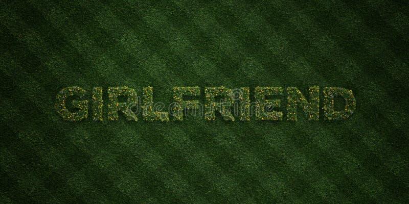 FLICKVÄN - nya gräsbokstäver med blommor och maskrosor - 3D framförd fri materielbild för royalty stock illustrationer