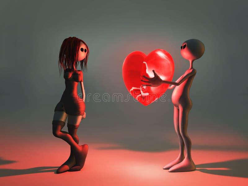 flickvännen ger hjärtamannen royaltyfri illustrationer