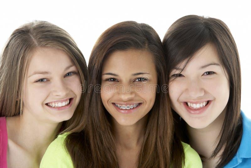 flickvänner grupperar tonårs- royaltyfria foton