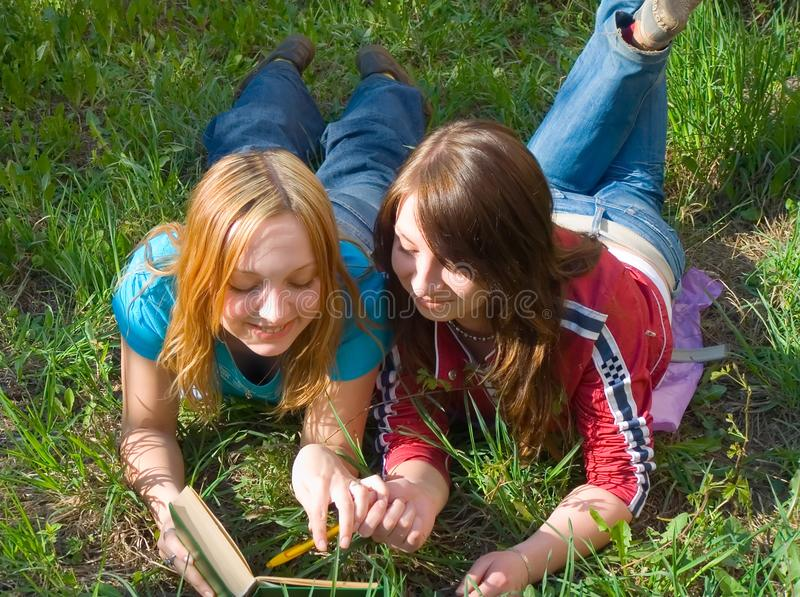 Flickvänner läste boka. arkivfoton