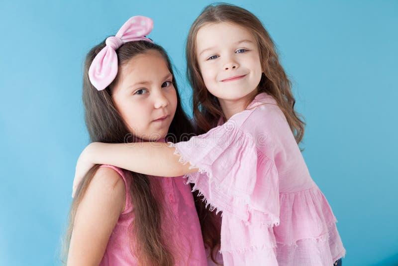 Flickvänsyster för två härlig liten flickor i rosa kläder arkivbild
