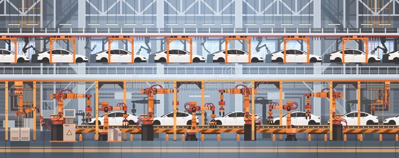 Fließband der Auto-Produktions-Förderer-vollautomatischen Fertigung Maschinerie-industrielle Automatisierungs-Industrie-Konzept lizenzfreie abbildung