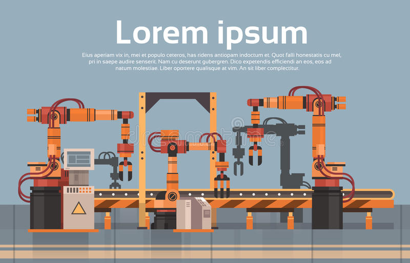 Fließband der Fabrik-Produktions-Förderer-vollautomatischen Fertigung Maschinerie-industrielle Automatisierungs-Industrie-Konzept lizenzfreie abbildung