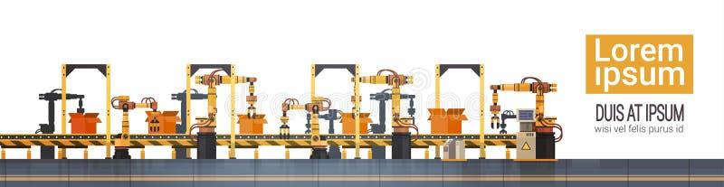 Fließband der Fabrik-Produktions-Förderer-vollautomatischen Fertigung Maschinerie-industrielle Automatisierungs-Industrie-Konzept stock abbildung