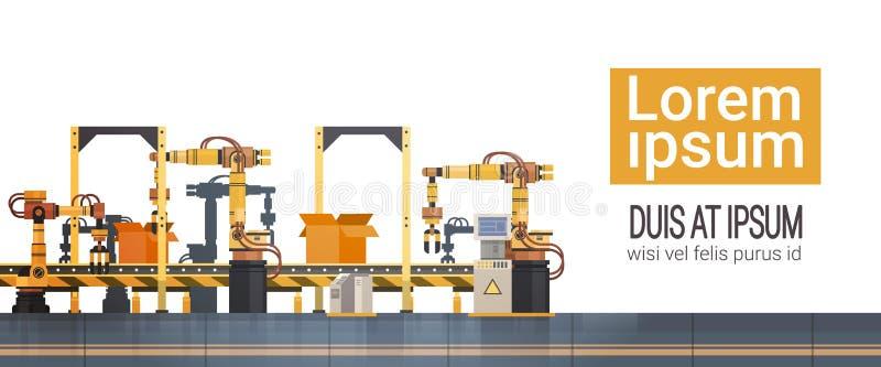 Fließband der Fabrik-Produktions-Förderer-vollautomatischen Fertigung Maschinerie-industrielle Automatisierungs-Industrie-Konzept vektor abbildung
