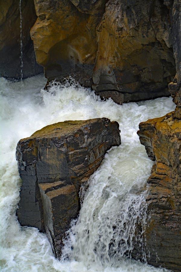 Fließendes Wasser Sunwapta Falls von Sunwapta-Fluss im Nationalpark-Jaspis, Alberta, Kanada stockbild