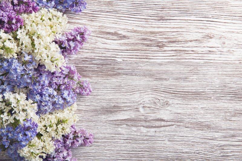 Flieder blüht Blumenstrauß auf hölzernem Planken-Hintergrund, Frühlings-Purpur lizenzfreie stockfotografie