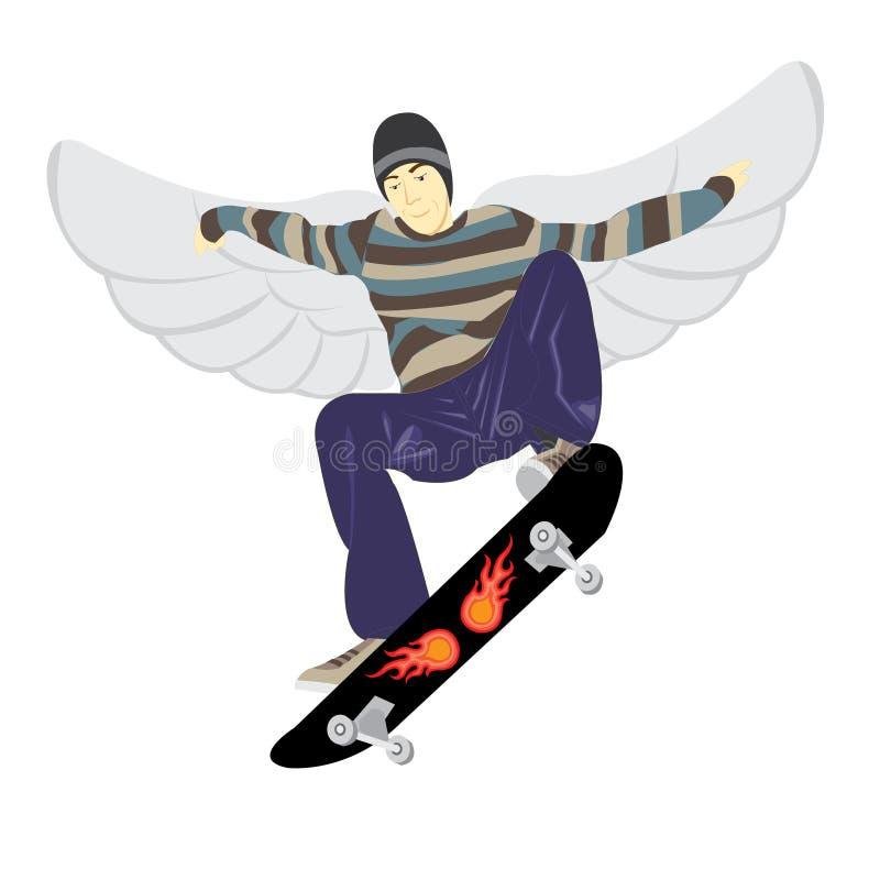 Fliege auf Skateboard lizenzfreie stockfotos