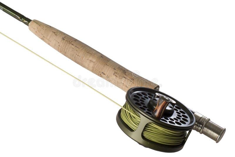 Fliege Rod mit einer Bandspule und einer Zeile stockfotos