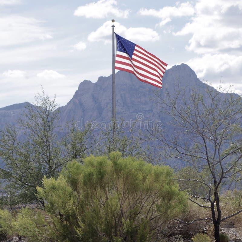 Fliegen der amerikanischen Flagge am roten Felsen-Naturschutzgebiet, Nevada USA stockfotografie