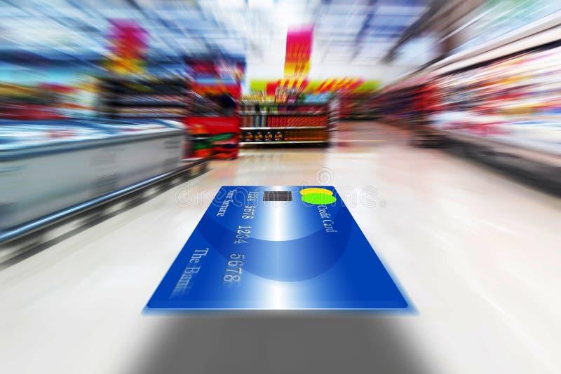 Fliegen-Kreditkarte, Einkaufskonzept, Kopien-Raum lizenzfreies stockfoto