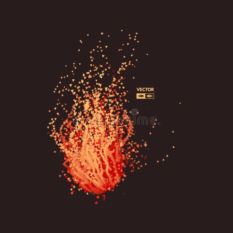 Fliegen-Meteor Kosmische Nachricht Reihe mit dynamischen ausgestrahlten Partikeln Futuristischer Entwurf entziehen Sie Hintergrun stock abbildung