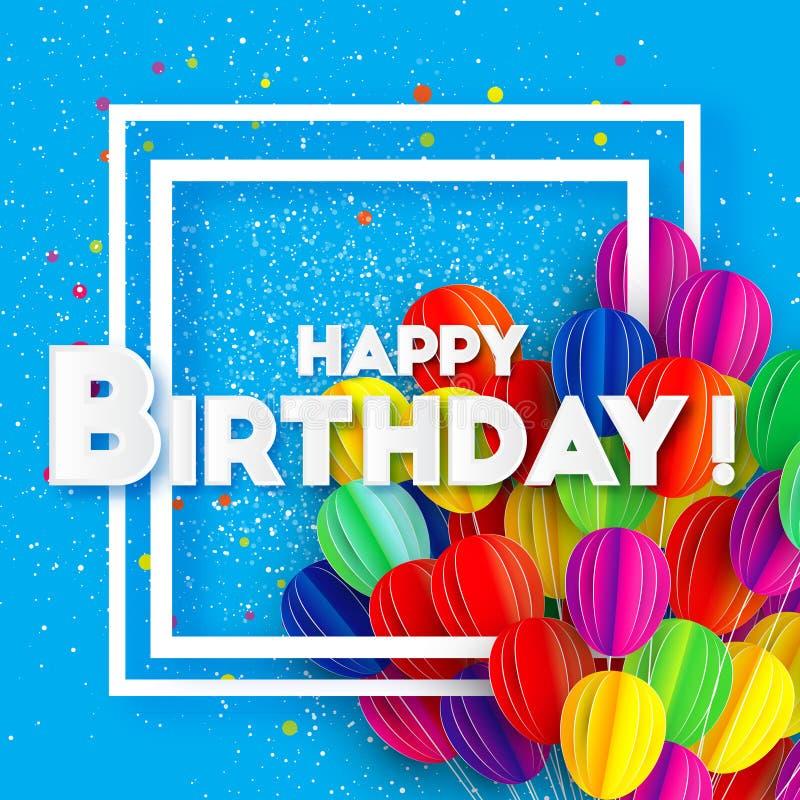 Fliegen-Papierschnittballone Bunte alles- Gute zum Geburtstaggrußkarte Squae-Rahmen für Text vektor abbildung