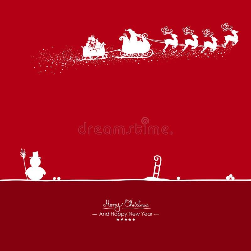 Fliegen Santa Claus mit Ren-Form mit rotem Hintergrund - Vektor-Illustration vektor abbildung