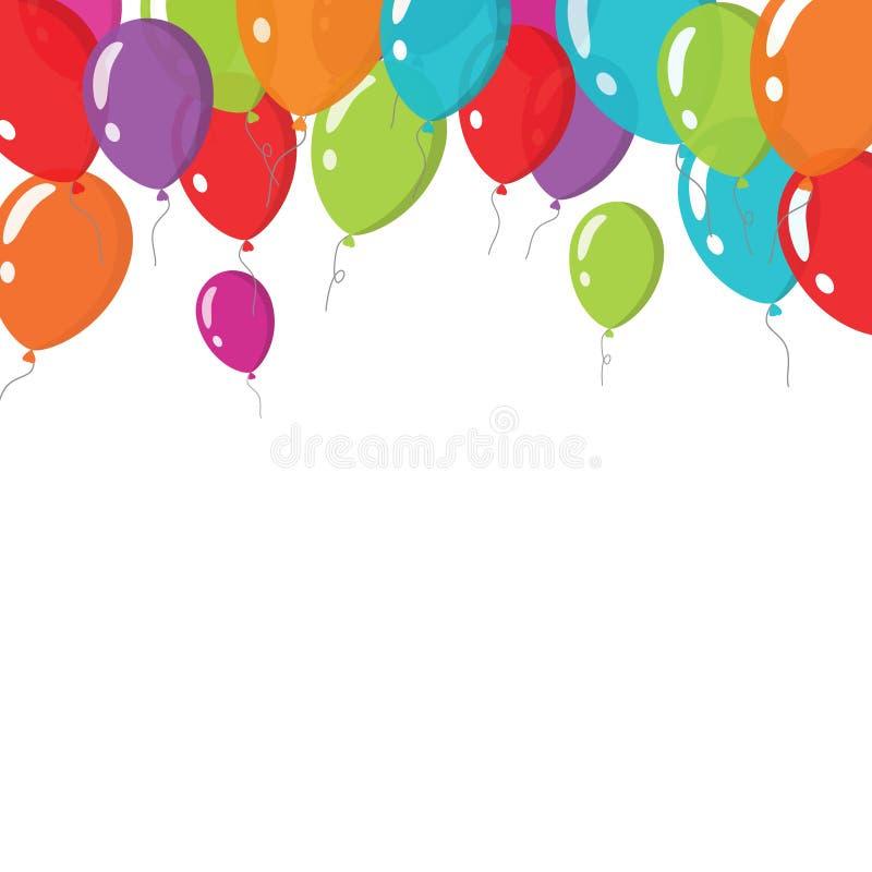 Fliegen steigt die Hintergrundvektorillustration im ballon auf, die auf Weiß lokalisiert wird stock abbildung