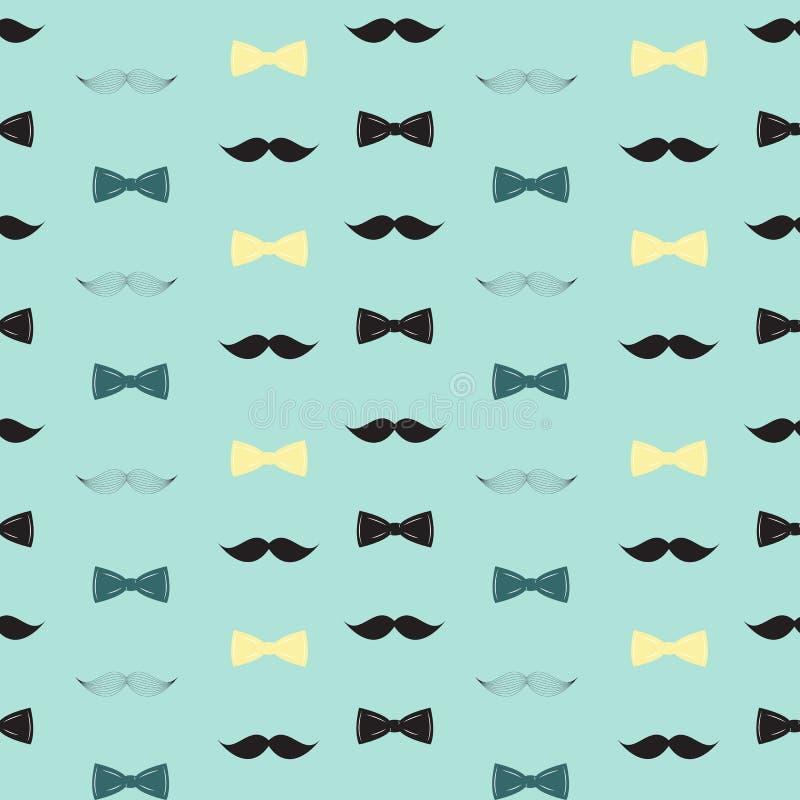 Fliegen-und Schnurrbart-nahtloses Muster, Tageshintergrund-Vektor-Illustration des Vater-s lizenzfreie abbildung