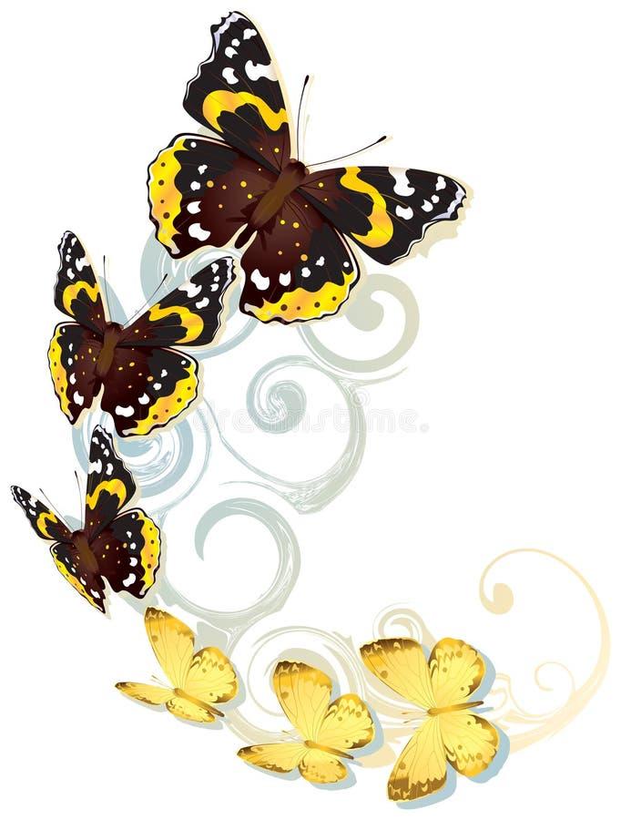 Fliegen von gelben und braunen Schmetterlingen stock abbildung