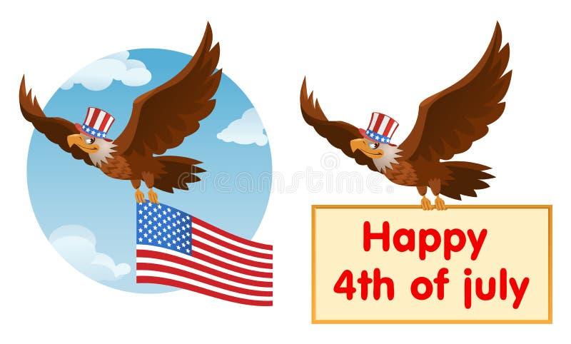 Fliegen-Weißkopfseeadler im patriotischen Hut hält amerikanische Flagge stock abbildung