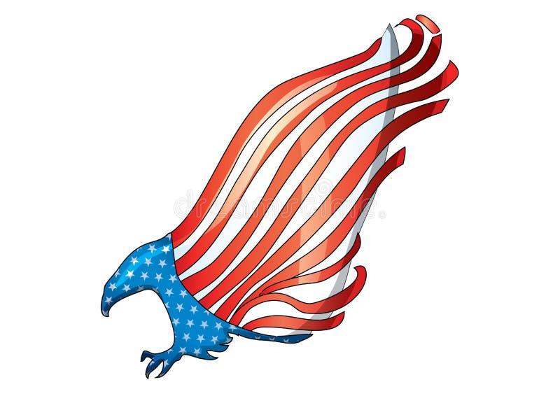 Fliegenadlerflagge USA-Weißkopfseeadlerflaggenvektor lizenzfreie abbildung