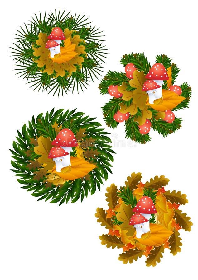 Fliegenblätterpilze und Herbstblätter lizenzfreie stockfotos