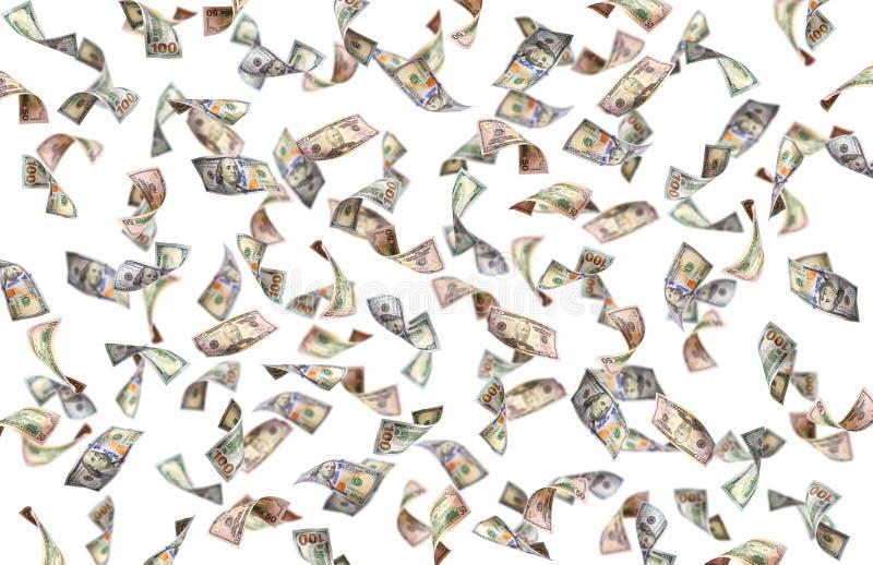 Fliegende Banknote vieler Dollar stock abbildung