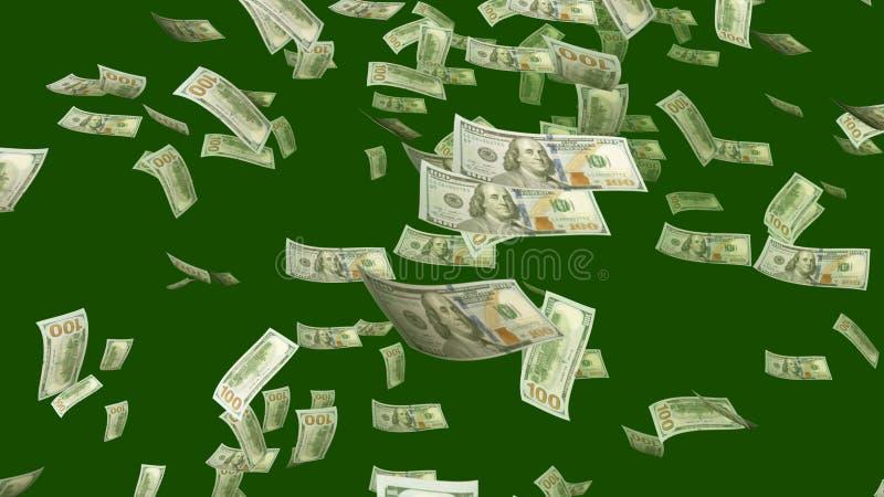 Fliegende Dollar im kakifarbigen Hintergrund stock abbildung