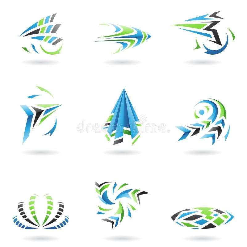 Fliegende dynamische abstrakte Ikonen stock abbildung