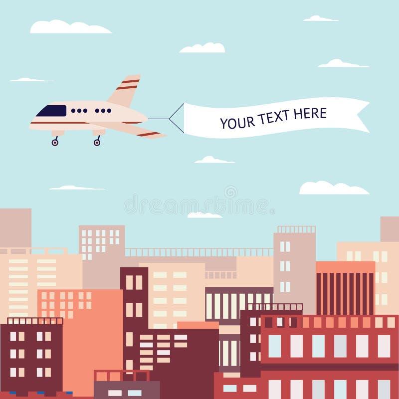 Fliegende Fahne zog durch Flugzeugfliegen über einer flachen Vektorillustration der modernen Stadt lizenzfreie abbildung