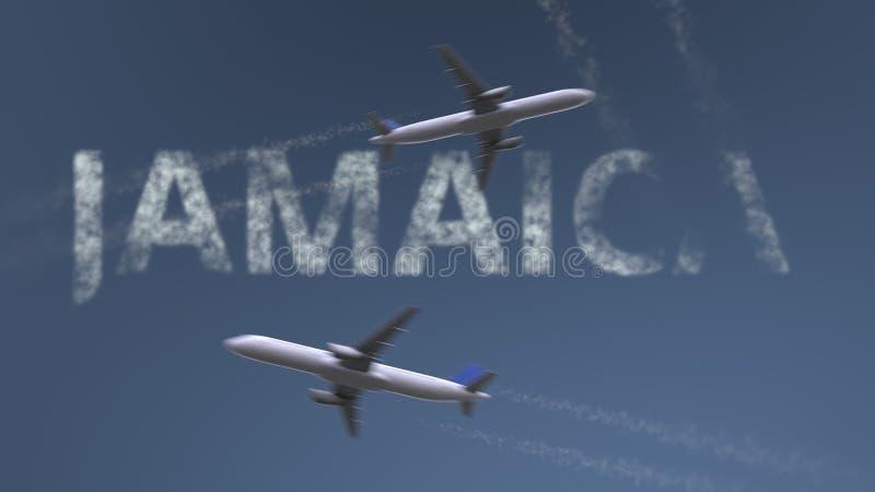 Fliegende Flugzeugspuren und Jamaika-Titel Urlaubsreisebegriffs-Wiedergabe 3D vektor abbildung