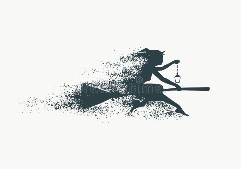 Fliegende junge Hexenikone stock abbildung