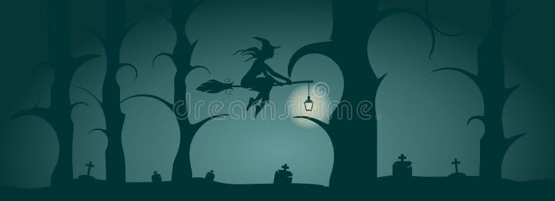 Fliegende junge Hexenikone Hexenschattenbild auf einem Besenstiel stock abbildung