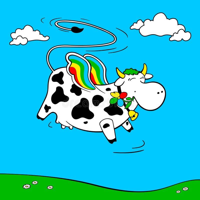 Fliegende Kuh fliegt in den Himmel Kuh in den Farben des Regenbogens lizenzfreie abbildung