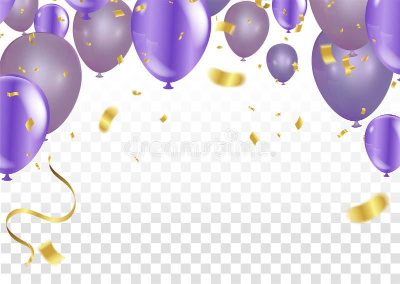 Fliegende purpurrote Ballone auf einem weißen Hintergrund vektor abbildung